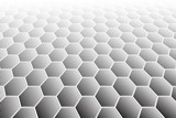 Hexagons tiled textured surface. Perspective view. - 100420605