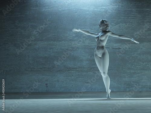 Fotografia  Woman in dance pose statue white