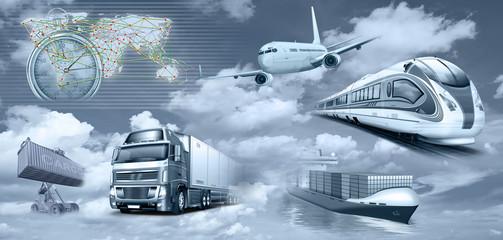 Fototapeta Transport, Logistik, Personenverkehr, Frachtverkehr