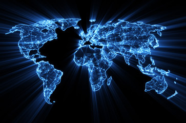 Fototapeta Mapy glowing blue worldwide web on world map concept