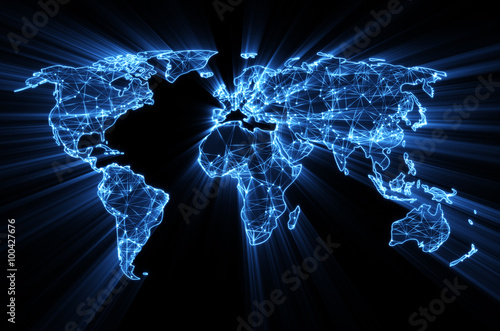 fototapeta na lodówkę glowing blue worldwide web on world map concept