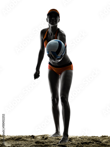 woman beach volley ball player silhouette Canvas Print