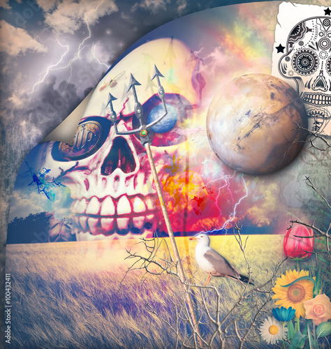 Tuinposter Imagination Macabre series with sugar skull in the storm