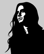 Clip Art Low Key Portrait Of Pensive Long Hair Woman Looking Up. Easy Editable Layered Vector Illustration.