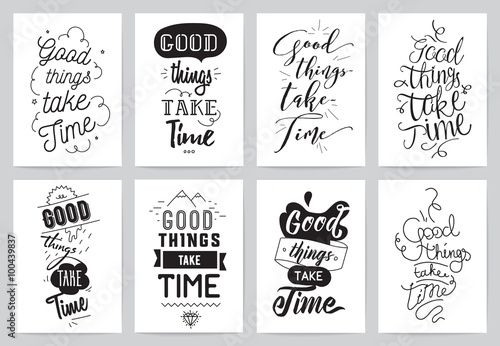 Poster Positive Typography Inspirational cards 8 set. Typographical design. Lettering concept.