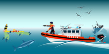 Vector Illustration. Rescue Boat And Fishermen At Sea. The Collapse Of The Sea. A Sinking Ship. Shark. Fishing Net. Rescue At Sea. Lifeguard Boat. Swimmer.