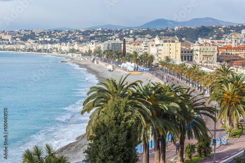 Fotobehang Nice NICE, FRANCE, on JANUARY 13, 2016. City landscape. Promenade des Anglais. Winter day.