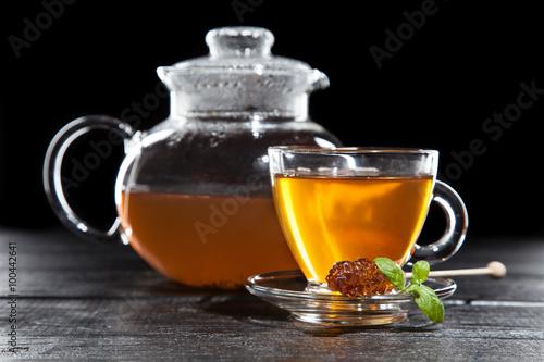 Staande foto Thee Cup of tea on dark background