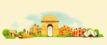 Vector Watercolor DELHI City I...