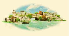 Vector Watercolor DUBLIN City ...