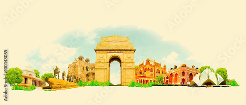 Fotografie, Obraz  vector watercolor DELHI city illustration