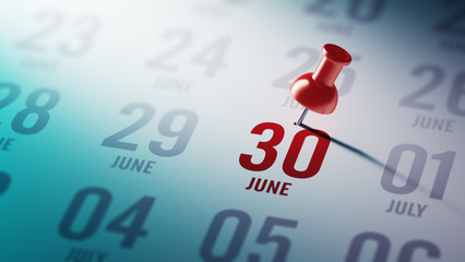 June 30 written on a calendar to remind you an important appoint
