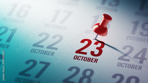 Tela  October 23 written on a calendar to remind you an important appo