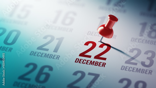 Fotografia  December 22 written on a calendar to remind you an important app