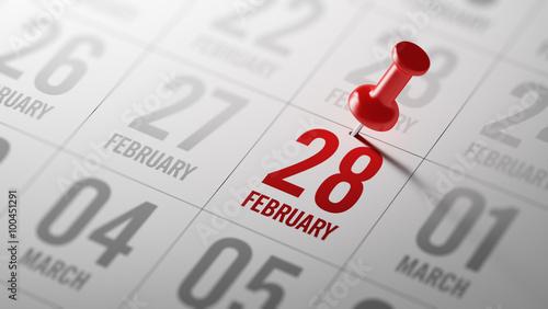 Obraz February 28 written on a calendar to remind you an important app - fototapety do salonu