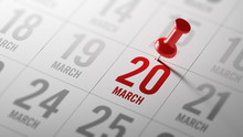 March 20 Written On A Calendar To Remind You An Important Appoin