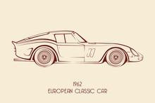 European Vintage Classic Sports Car, Silhouettes, Outlines, Contours.