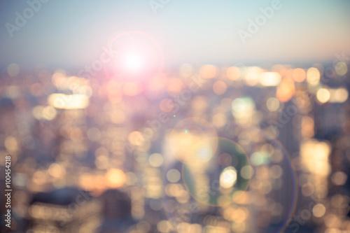 Keuken foto achterwand New York Defocused blur across urban buildings in New York City