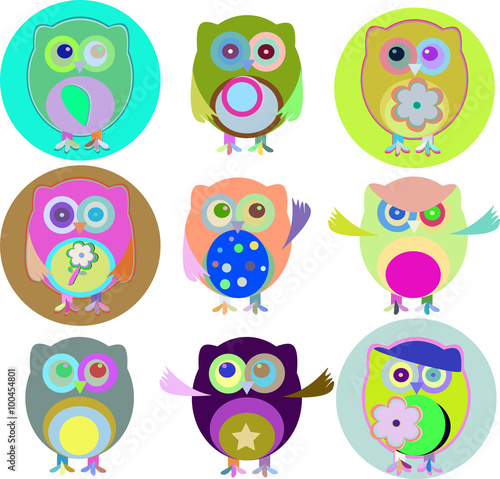 Canvas Prints Vector illustration of colorful owls with nine color combinations