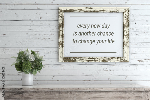 Fotografía  Inspirational Quote on Picture Frame.