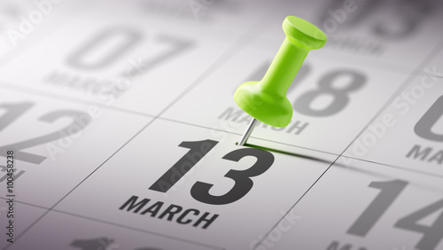 Fotografie, Obraz March 13 written on a calendar to remind you an important appoin