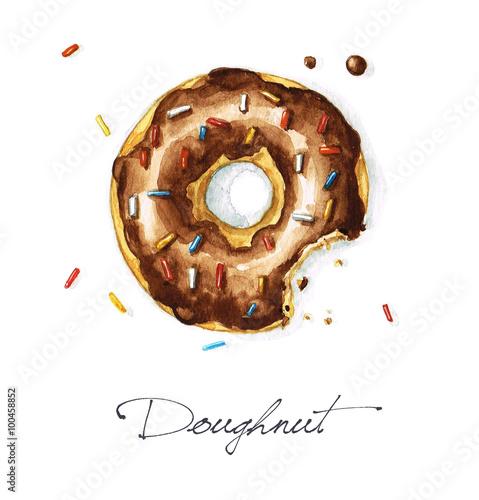 Foto auf Leinwand Aquarell Abbildungen Watercolor Food Painting - Doughnut