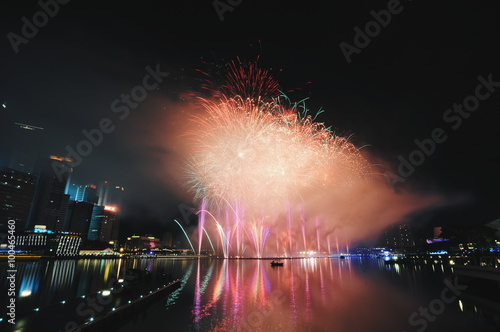 Fire Work of New Year Eve Celebration at Singapore Poster