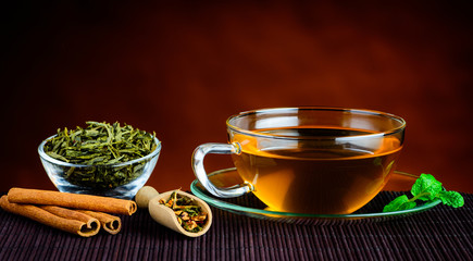 Fototapeta Green Tea in Cup and Ingredients