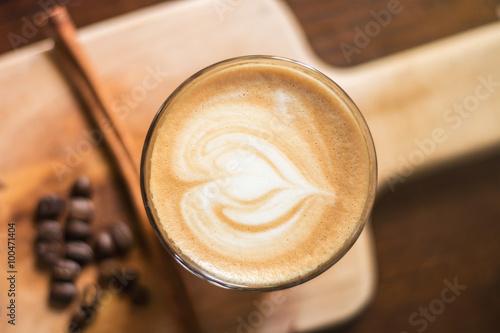 Fotografie, Obraz  Heart-shaped pattern of coffee latte art, valentine's day for ba
