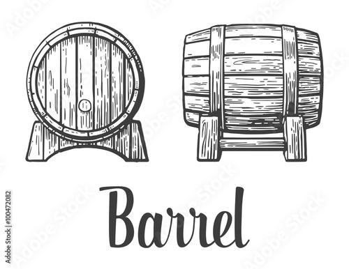 Fotografia Wooden barrel set. Black and white vintage vector illustration.