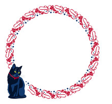 Round Frame With Black Cat