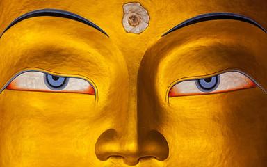 Naklejka Religia i Kultura Maitreya Buddha face close up, Ladakh