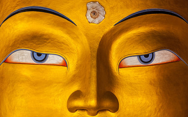 Fototapeta Maitreya Buddha face close up, Ladakh