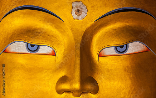 Canvas Print Maitreya Buddha face close up, Ladakh