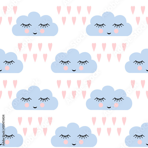 Clouds pattern. Seamless pattern with smiling sleeping clouds and hearts for kids holidays. Cute baby shower vector background. Child drawing style rainy clouds in love vector illustration.