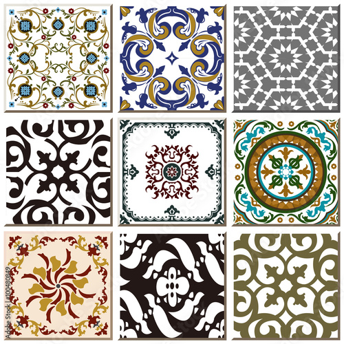 Deurstickers Marokkaanse Tegels Vintage retro ceramic tile pattern set collection 025
