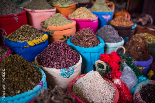 fototapeta na drzwi i meble Containers of herbs for sale in the souks of Marrakesh