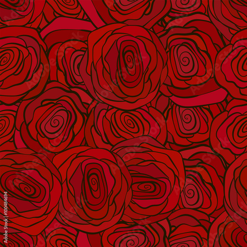 Red roses seamless pattern for valenine s day romantic wallpaper - 100484694