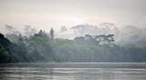 Sangha River. Morning fog on the African river Sangha. Congo. - 100496044