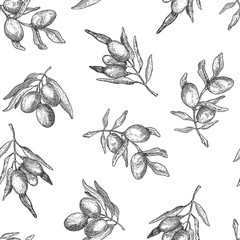 NaklejkaSeamless pattern with olive branches