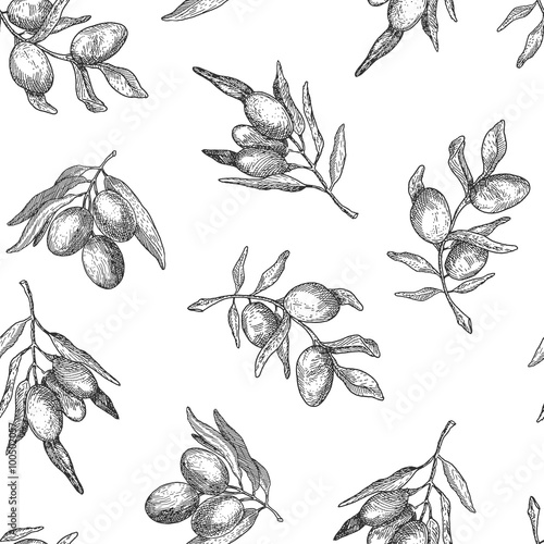 Fotografía  Seamless pattern with olive branches