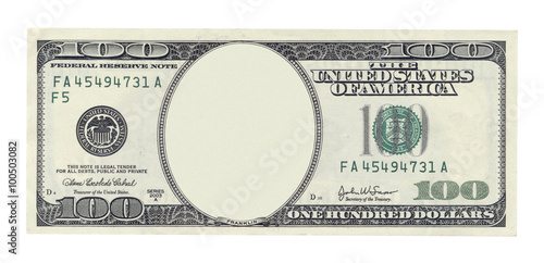 Fotografía  Blank one hundred dollar banknote isolated on white