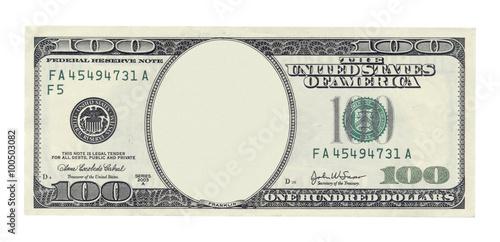 Fototapeta Blank one hundred dollar banknote isolated on white obraz