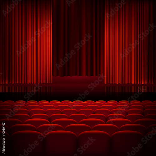 Printed kitchen splashbacks Theater Open theater red curtains. EPS 10
