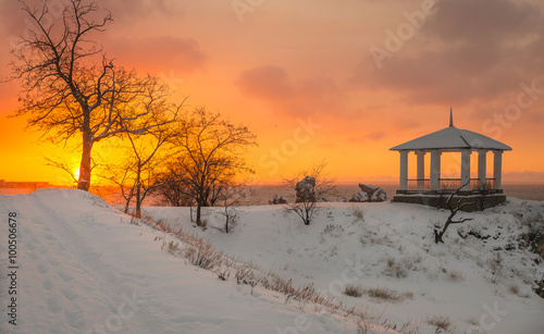 Poster Melon Winter dawn in the Kerch Bay