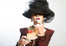 The Girl In The Hat Messy Eating Cake With Cherries