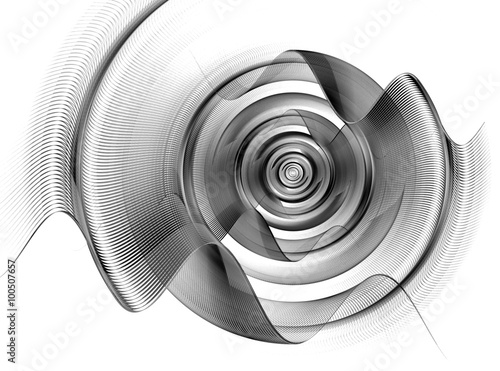 Foto op Canvas Fractal waves Abstract fractal circle, sphere with waves.