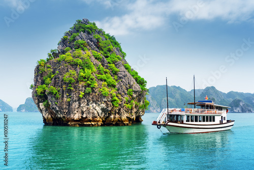 Staande foto Eiland Beautiful view of karst isle and tourist boat in the Ha Long Bay
