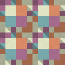 Shaded Patchwork Pattern In Bold Colors, Textured Seamless Vector Illustration