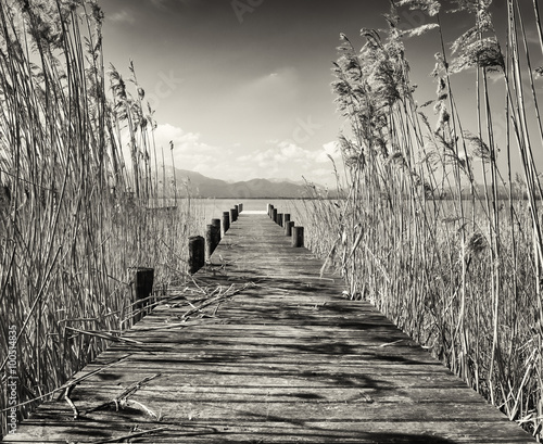 Photo  old wooden jetty